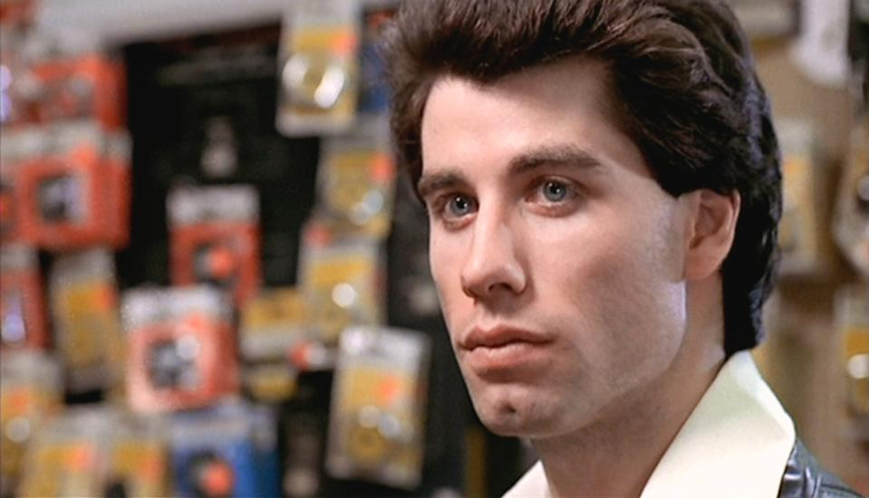 """NEW YORK - DECEMBER 16: The movie """"Saturday Night Fever"""", directed by John Badham. Seen here,  John Travolta as Tony Manero. Initial theatrical wide release December 16, 1977.  Screen capture. Paramount Pictures. (Photo by CBS via Getty Images)"""