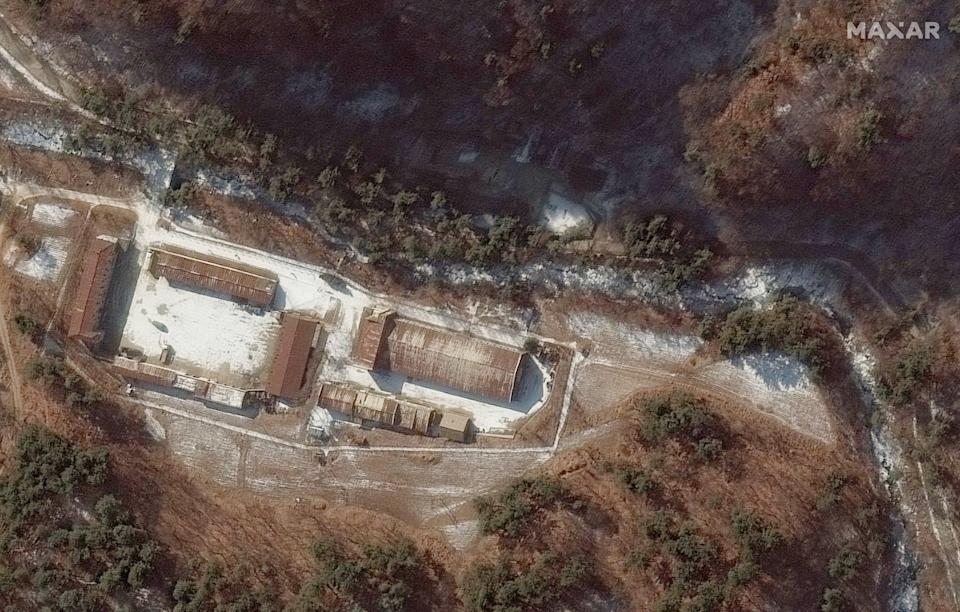Tunnel entrances seen near the top of the satellite image on December 5, 2019. Source: Maxar/supplied