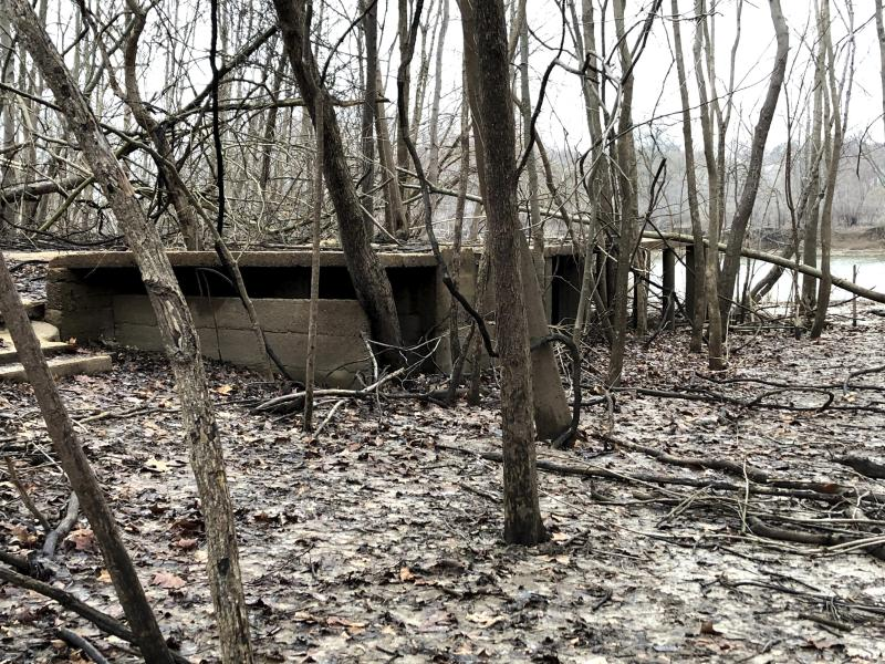 This photo taken March 10, 2020, in Arnold, Missouri, shows the ruins of an abandoned house along the Meramec River. The city of Arnold has bought out hundreds of homes along the waterfront, creating more open space and wetlands where the river can spread out during floods without doing serious damage. Arnold is among a number of U.S. heartland communities taking such steps as an alternative to relying solely on levees and other man-made infrastructure to control floods. (AP Photo/John Flesher)