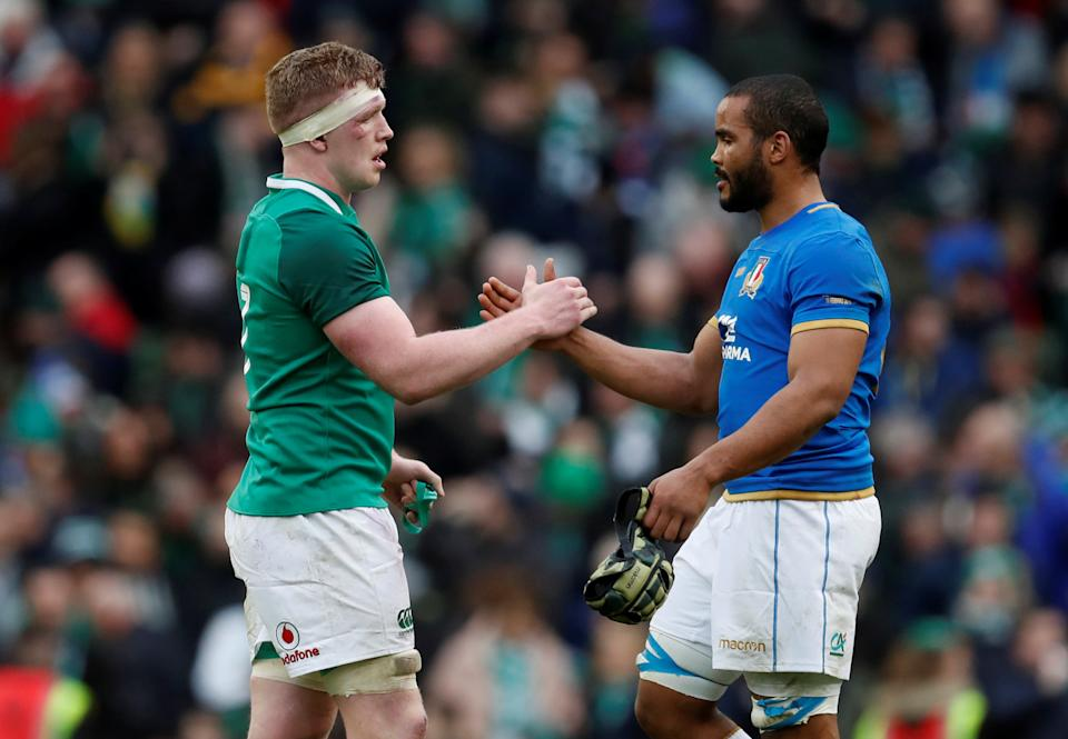 Rugby Union - Six Nations Championship - Ireland vs Italy - Aviva Stadium, Dublin, Republic of Ireland - February 10, 2018   Ireland's Dan Leavy shakes hands with Italy's Maxime Mbanda at the end of the match    REUTERS/Russell Cheyne