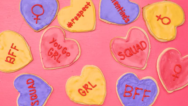 Share these feminist Valentine's Day cookies with your woke besties for Galentine's Day