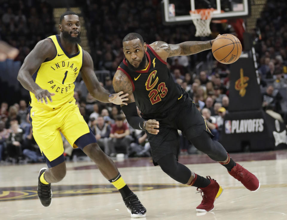 LeBron James averaged 27.5 points, 9.1 assists and 8.7 rebounds this past season. (AP)
