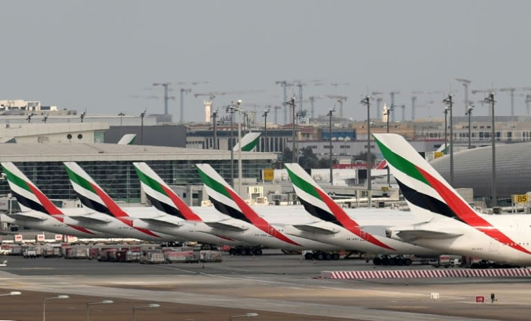 Emirates aircraft grounded at Dubai international Airport after the carrier suspended all passenger operations amid the COVID-19 coronavirus pandemic