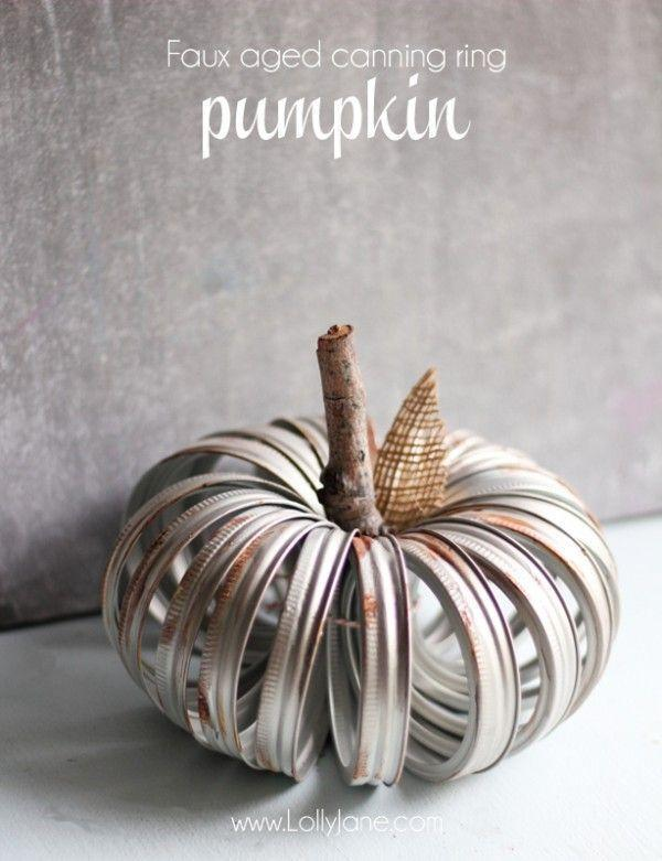"""<p>Make a new canning-ring pumpkin look vintage with brown and orange acrylic paint and sandpaper.</p><p><strong>Get the tutorial at <a href=""""http://lollyjane.com/faux-aged-canning-ring-pumpkin/"""" rel=""""nofollow noopener"""" target=""""_blank"""" data-ylk=""""slk:Lolly Jane"""" class=""""link rapid-noclick-resp"""">Lolly Jane</a>.</strong> </p>"""