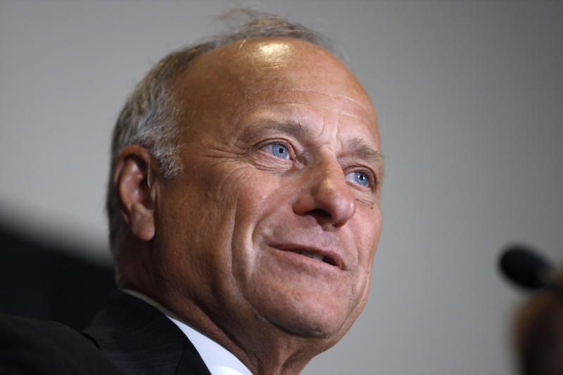 "U.S. Rep. Steve King, R-Iowa, speaks during a news conference, Friday, Aug. 23, 2019, in Des Moines, Iowa. King affirmed his belief that abortion should be outlawed with no exceptions for rape or incest. King faced criticism for his comment Aug. 14 that questioned whether there would be ""any population of the world left"" if not for births due to rape and incest. (AP Photo/Charlie Neibergall)"