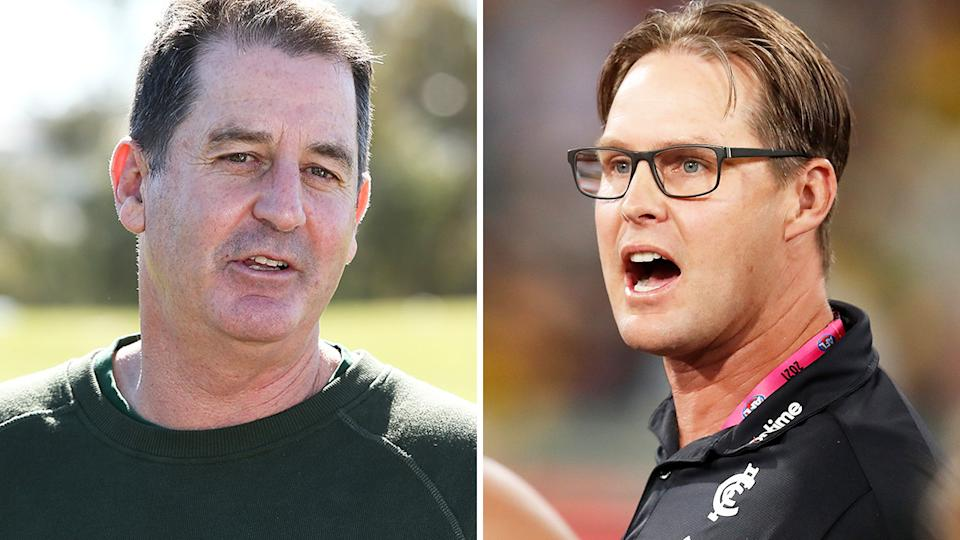 Former AFL coach Ross Lyone threw his at into the ring for Carlton's coaching job last week, despite David Teague being contracted for 2022. Pictures: Getty Images