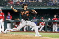 Baltimore Orioles starting pitcher Jorge Lopez throws during the first inning of the team's baseball game against the Texas Rangers in Arlington, Texas, Friday, April 16, 2021. (AP Photo/Roger Steinman)