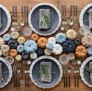 """<p>Orange and blue sit opposite each other on the color wheel for a reason—they're perfect complements. Pair the two shades for a brighter take on traditional fall decor. </p><p><a class=""""link rapid-noclick-resp"""" href=""""https://happilyeverafteretc.com/27-neutral-thanksgiving-tablescapes/"""" rel=""""nofollow noopener"""" target=""""_blank"""" data-ylk=""""slk:See more at Happily Ever After Etc."""">See more at Happily Ever After Etc.</a></p>"""
