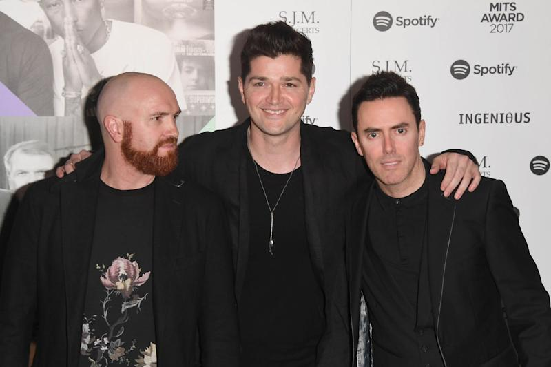 Pals: The Script's Mark Sheehan, Danny O'Donoghue and Glen Power: Stuart C. Wilson/Getty Images