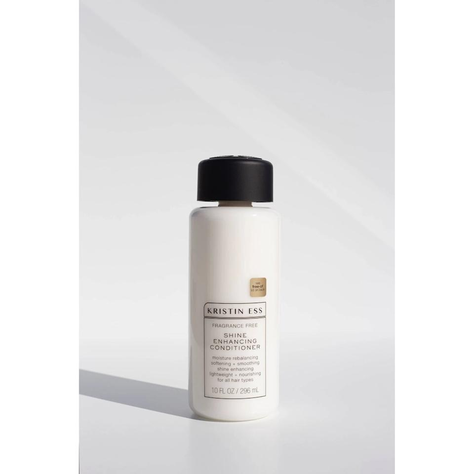 "<p>Once you've cleanse, keep your strands soft with this <product href=""https://www.target.com/p/kristin-ess-fragrance-free-shine-enhancing-conditioner-10-fl-oz/-/A-76577777"" target=""_blank"" class=""ga-track"" data-ga-category=""Related"" data-ga-label=""https://www.target.com/p/kristin-ess-fragrance-free-shine-enhancing-conditioner-10-fl-oz/-/A-76577777"" data-ga-action=""In-Line Links"">Kristin Ess Fragrance Free Shine Enhancing Conditioner</product> ($12).</p>"