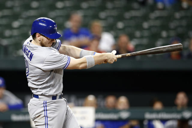 Toronto Blue Jays' Danny Jansen hits a two-run home run in the second inning of a baseball game against the Baltimore Orioles, Monday, Sept. 17, 2018, in Baltimore. (AP Photo/Patrick Semansky)