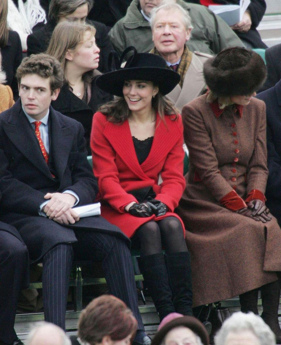 <p>After his graduation from St. Andrew's, Prince William began officer training at Sandhurst. Here, Middleton smiled during the Royal Military Academy's Sovereign Parade. For these important events, Kate was always by William's side.</p>