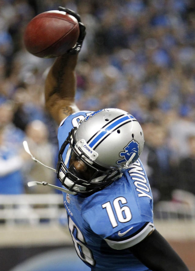 Detroit Lions wide receiver Titus Young (16) spike the ball after scoring the game winning touchdown in the second half of an NFL football game against the Seattle Seahawks, Sunday, Oct. 28, 2012. in Detroit. The Lions won 28-24. (AP Photo/Rick Osentoski)