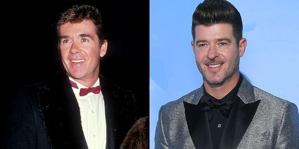 """<p>Alan Thicke was America's favorite sitcom dad on <em>Growing Pains </em>throughout his late 30s and early 40s<em>. </em>But the late actor's son, Robin Thicke, has paved his own way in the entertainment industry as a singer and has had several big hits by the same age, including """"Blurred Lines.""""</p>"""