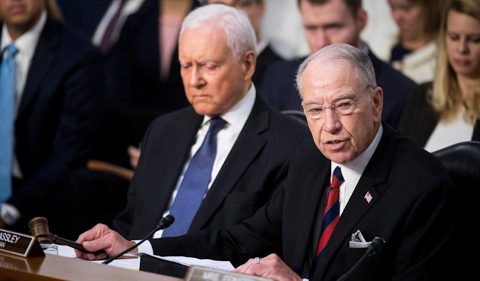 The Senate Judiciary Committee, including Sen. Orrin Hatch (R-Utah), left, and Sen. Chuck Grassley (R-Iowa), may hear from Christine Blasey Ford next week about her allegations of sexual assault against Supreme Court nominee Brett Kavanaugh. (Photo: Bill Clark/CQ Roll Call)