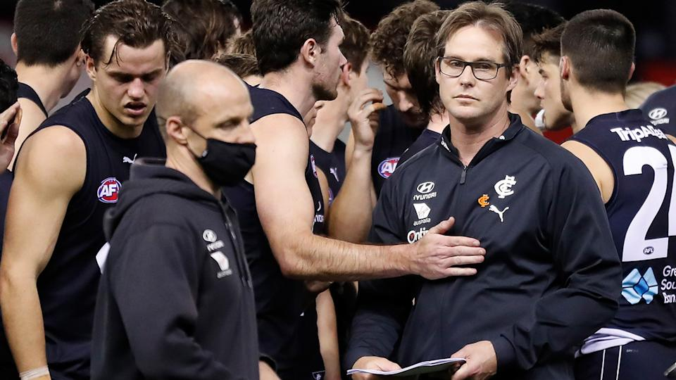 Carlton won 21 of 50 games coached by David Teague before he was sacked as coach after the 2021 season. (Photo by Michael Willson/AFL Photos via Getty Images)