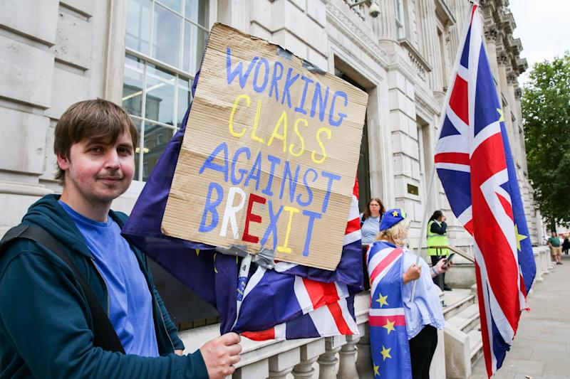 Personas en contra del Brexit protestan en Londres. Foto: Dinendra Haria/SOPA Images/LightRocket via Getty Images.