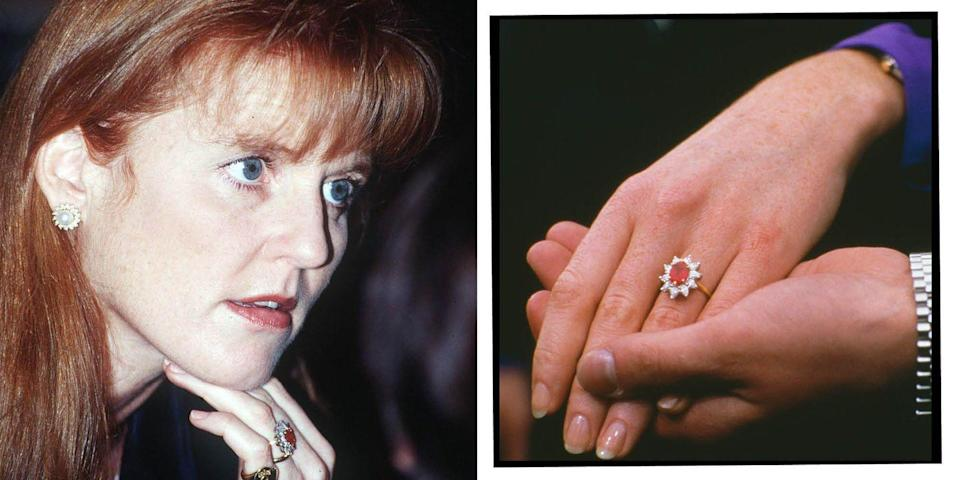 """<p>The Duchess of York's ring from Prince Andrew, presented to her on their engagement in 1986, features a Burmese ruby encased in 10 diamonds resembling a flower.</p><p>The ruby was chosen to compliment Ferguson's red hair, the couple said in their engagement interview.</p><p>'It's stunning, red, I wanted a ruby,' Ferguson said. 'I'm very lucky to have it, it's a lovely stone.'</p><p><a class=""""link rapid-noclick-resp"""" href=""""https://go.redirectingat.com?id=127X1599956&url=https%3A%2F%2Fwww.johnlewis.com%2Fa-b-davis-9ct-rose-gold-morganite-and-diamond-ring%2Fp4099205&sref=https%3A%2F%2Fwww.elle.com%2Fuk%2Flife-and-culture%2Fwedding%2Fg28785354%2Froyal-family-engagement-rings-meghan-markle-kate-middleton-queen%2F"""" rel=""""nofollow noopener"""" target=""""_blank"""" data-ylk=""""slk:SHOP SIMILAR"""">SHOP SIMILAR</a> A B Davis 9ct Rose Gold Morganite and Diamond Ring, John Lewis, £325</p>"""