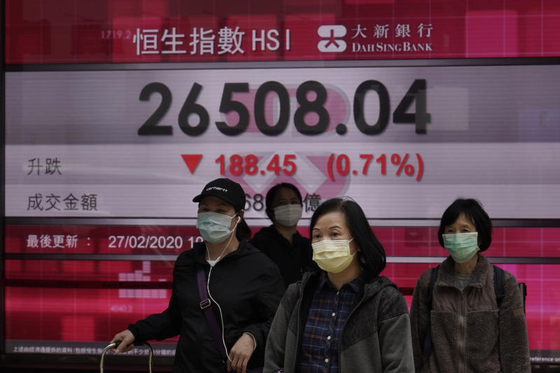 People walk past an electronic board showing Hong Kong share index outside a local bank in Hong Kong, Thursday, Feb. 27, 2020. Shares fell in Asia on Thursday after President Donald Trump announced the U.S. was stepping up its efforts to combat the virus outbreak that began in China. (AP Photo/Kin Cheung)