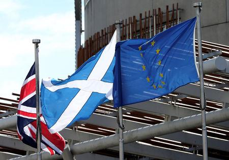 FILE PHOTO: Union, Scottish Soltaire and European Union flags fly outside of Scottish Parliament building in Edinburgh