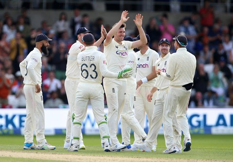 England celebrate the wicket of Rohit Sharma (Nigel French/PA) (PA Wire)