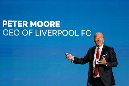 FILE PHOTO: Peter Moore, CEO of Liverpool FC gestures during the Dubai International Sports Conference in Dubai, UAE January 2, 2019. REUTERS/Satish Kumar/File Photo