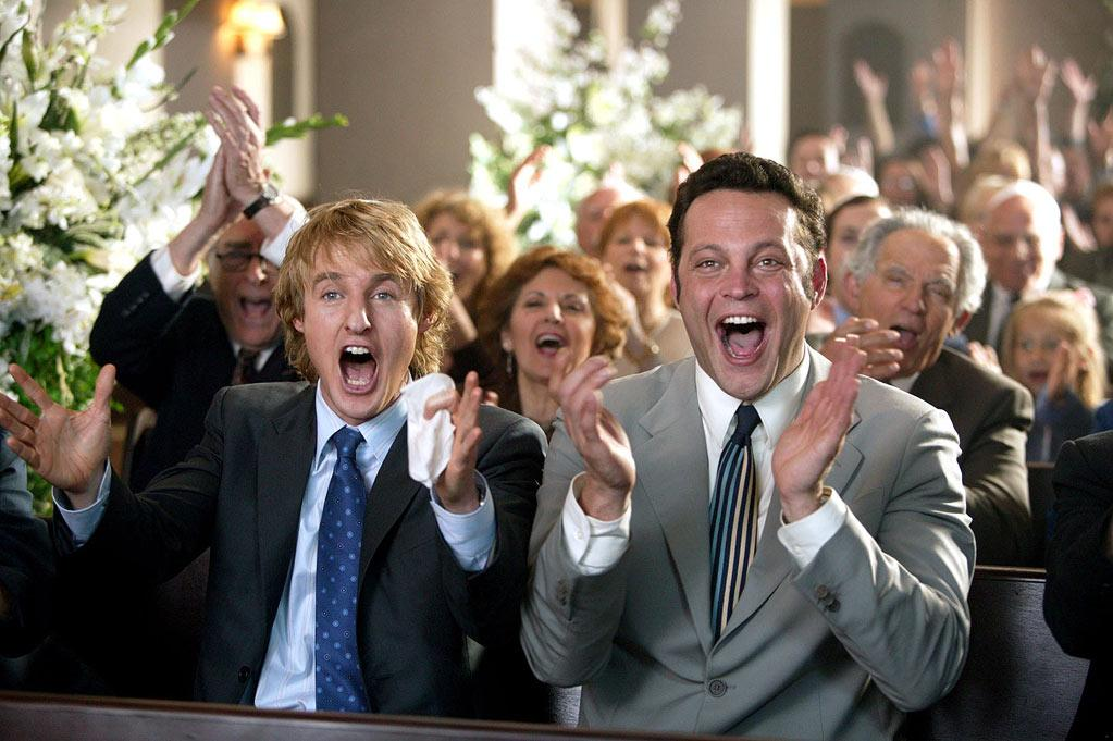 """<a href=""""http://movies.yahoo.com/movie/1808628231/info"""">Wedding Crashers</a> (2005): In looking at marriage from the male perspective, this bold and bawdy comedy comes from an inspired premise: Two guys crash weddings to pick up bridesmaids and partake in the free food and drink. And it's hard to resist the chemistry of Vince Vaughn and Owen Wilson, who bring a subversive energy to the movie that often makes it feel improvised. It's a complete blast for about the first hour, hour and a half, with a great cast (Rachel McAdams, Bradley Cooper, Christopher Walken, Isla Fisher), wickedly raunchy humor and pacing that leaves you breathless. With a running time just under two hours, you may feel like you've stayed at the party a bit too long, but you'll still be glad you went."""
