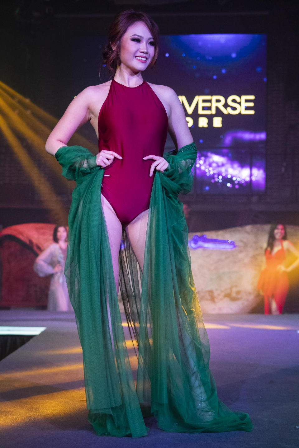 Nerrine Ng competing in the swimwear segment during the 2019 Miss Universe Singapore at Zouk.