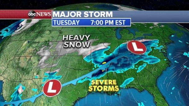 PHOTO: By Wednesday, the storm system will stretch from the Plains into the Gulf Coast with damaging winds and a threat for tornadoes in the Gulf Coast and heavy snow possible from western Texas into Oklahoma and into parts of Missouri. (ABC News)