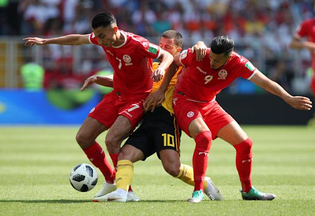 Soccer Football - World Cup - Group G - Belgium vs Tunisia - Spartak Stadium, Moscow, Russia - June 23, 2018 Tunisia's Saif-Eddine Khaoui and Anice Badri in action with Belgium's Eden Hazard REUTERS/Albert Gea TPX IMAGES OF THE DAY