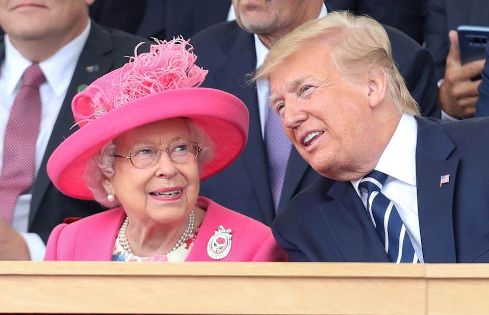 Queen Elizabeth II and U.S. President Donald Trump participate in an event to commemorate the 75th anniversary of D-Day, in Portsmouth, Britain, June 5, 2019. Chris Jackson/Pool via Reuters