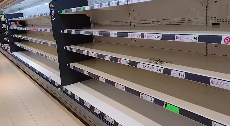 Empty shelves at a Lidl in Wolverton, Milton Keynes, on Thursday amid the 'pingdemic'. (PA)
