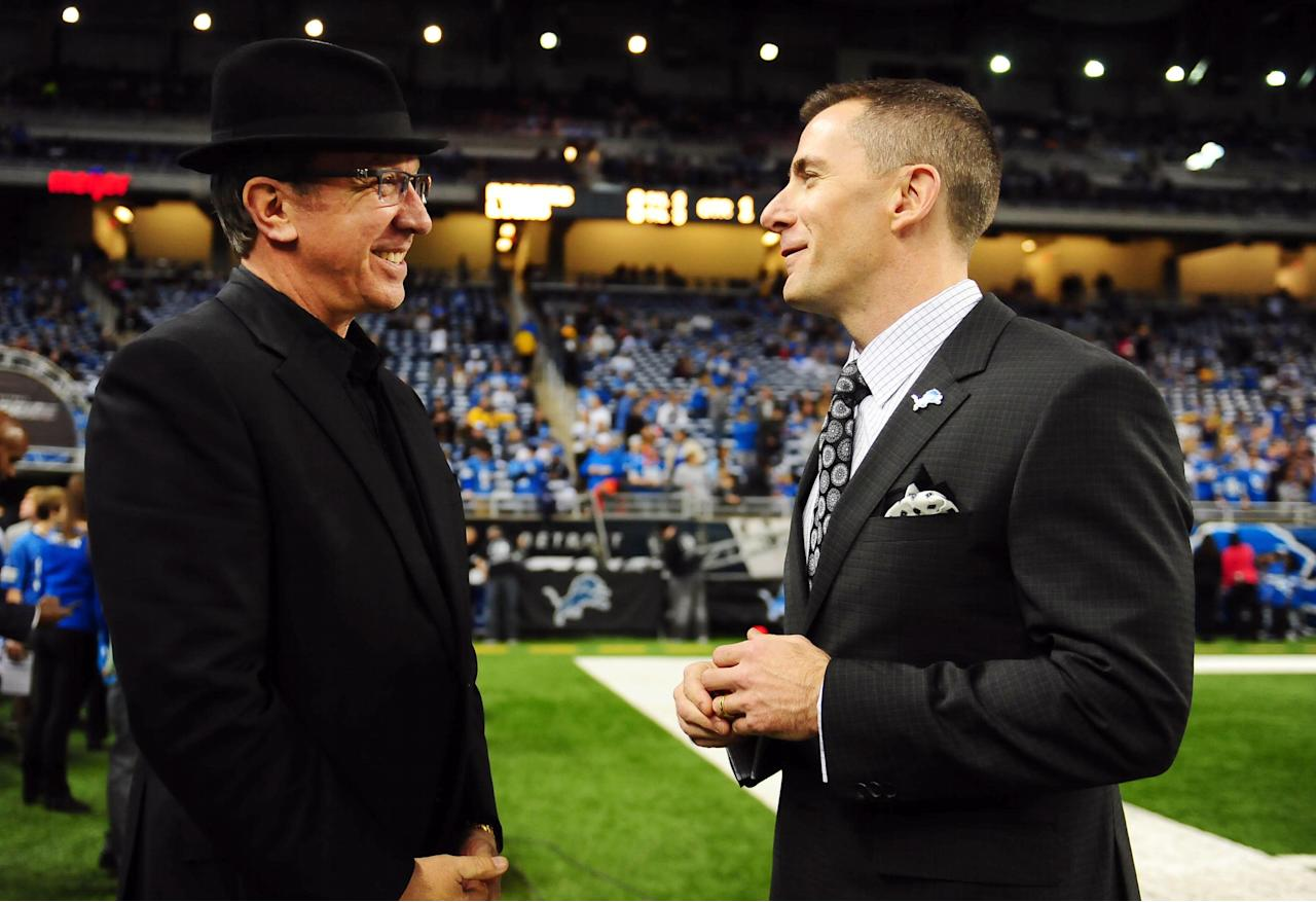 Nov 28, 2013; Detroit, MI, USA; Television actor Tim Allen (left) talks with Detroit Lions president Tom Lewand prior to a NFL football game against the Green Bay on Thanksgiving at Ford Field. (Andrew Weber-USA TODAY Sports)