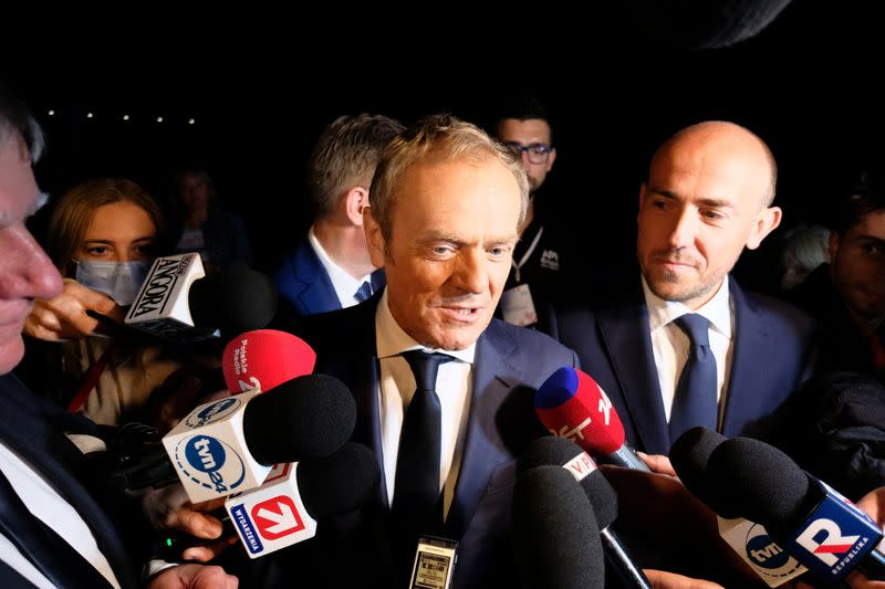 Former European Council President Tusk attends a party convention of Civic Platform in Warsaw