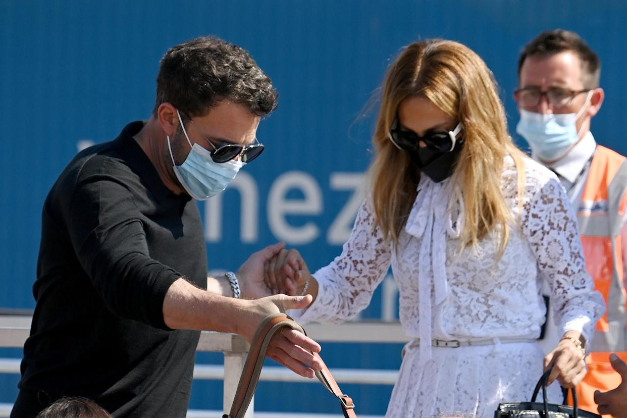 Ben Affleck and Jennifer Lopez arrive at the 78th Venice International Film Festival on September 09, 2021 in Venice, Italy. (Getty Images)