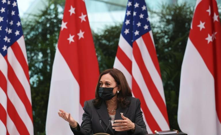 US Vice President Kamala Harris attends a roundtable at Gardens by the Bay in Singapore before departing for Vietnam on the second leg of her Asia trip