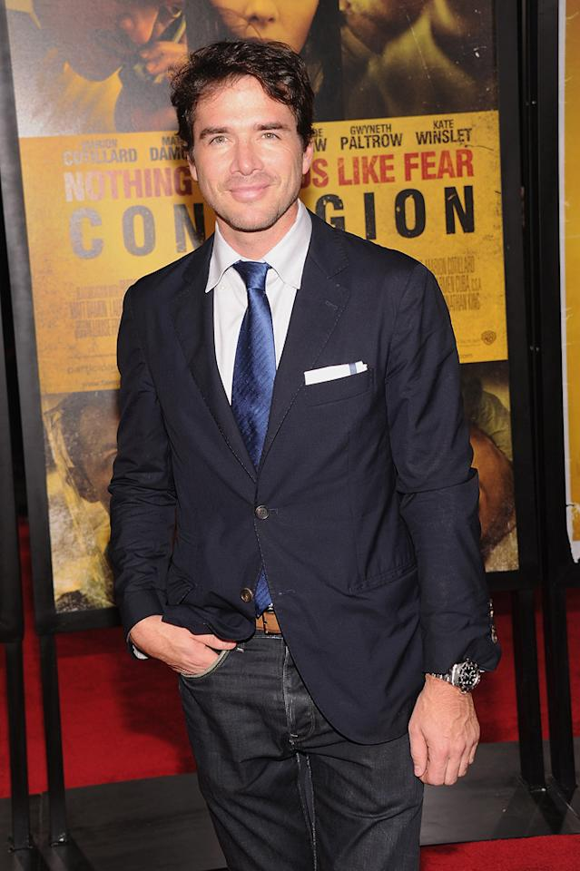 """<a href=""""http://movies.yahoo.com/movie/contributor/1800019052"""">Matthew Settle</a> at the New York City premiere of <a href=""""http://movies.yahoo.com/movie/1810161340/info"""">Contagion</a> on September 7, 2011."""
