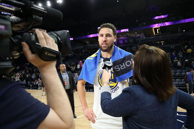 "<a class=""link rapid-noclick-resp"" href=""/nba/players/4892/"" data-ylk=""slk:Klay Thompson"">Klay Thompson</a> again took a shot at fans on Thursday, saying he can't focus on their ""fickle"" love this late in the season. (David Sherman/NBAE via Getty Images)"