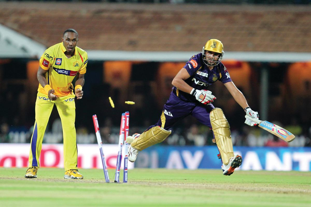 Mavinder Bisla running out during match 38 of the Pepsi Indian Premier League between The Chennai Superkings and the Kolkata Knight Riders held at the MA Chidambaram Stadiumin Chennai on the 28th April 2013. (BCCI)