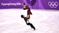 <p>Tessa Virtue and Scott Moir of Canada compete in the figure skating team event ice dance free dance on day three of the PyeongChang 2018 Winter Olympic Games at Gangneung Ice Arena on February 12, 2018 in Gangneung, South Korea. (Photo by XIN LI/Getty Images) </p>