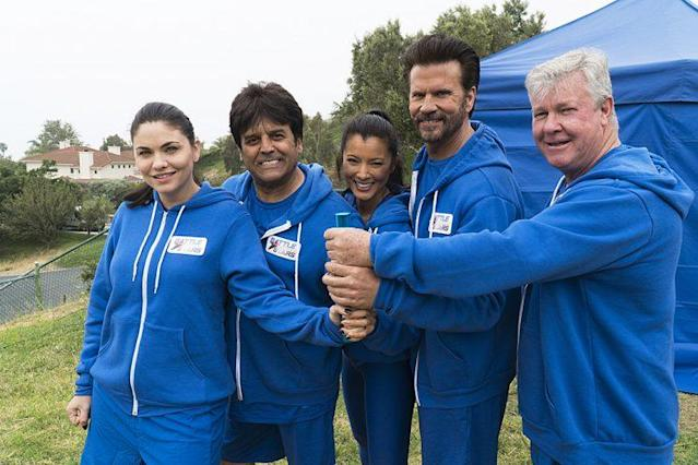 Jodi Lyn O'Keefe, Erik Estrada, Kelly Hu, Lorenzo Lamas, and Larry Wilcox on ABC's 'Battle of the Network Stars' (Photo Credit: ABC)