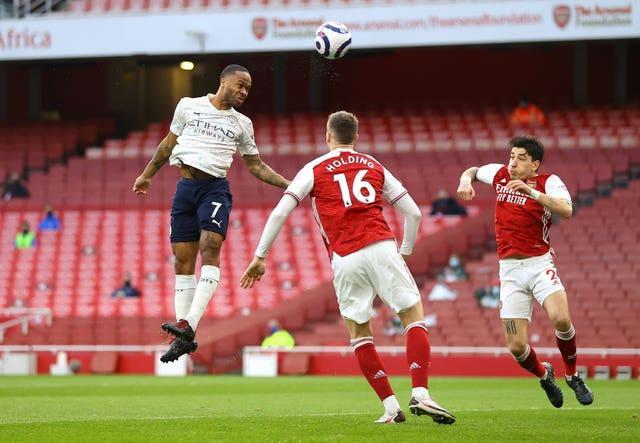 Raheem Sterling, left, scored the only goal of the game at the Emirates Stadium