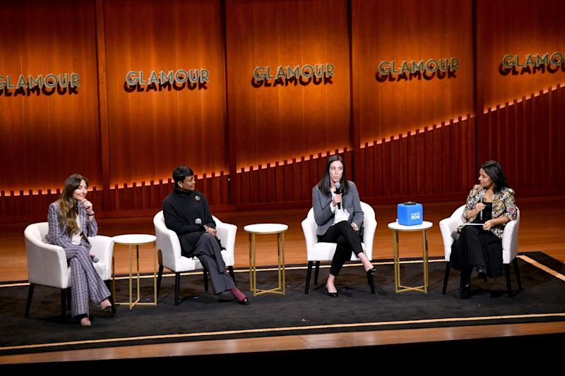 "Michelle Kennedy, Rose Stuckey Kirk, Alex Friedman, and Nisha Dua speak onstage during Not Another ""Women in Tech"" panel at the 2019 Glamour Women Of The Year Summit."