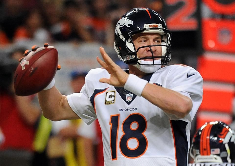 Denver Broncos quarterback Peyton Manning throws during the first quarter of an NFL football game against the St. Louis Rams, Sunday, Nov. 16, 2014, in St. Louis. (AP Photo/L.G. Patterson)