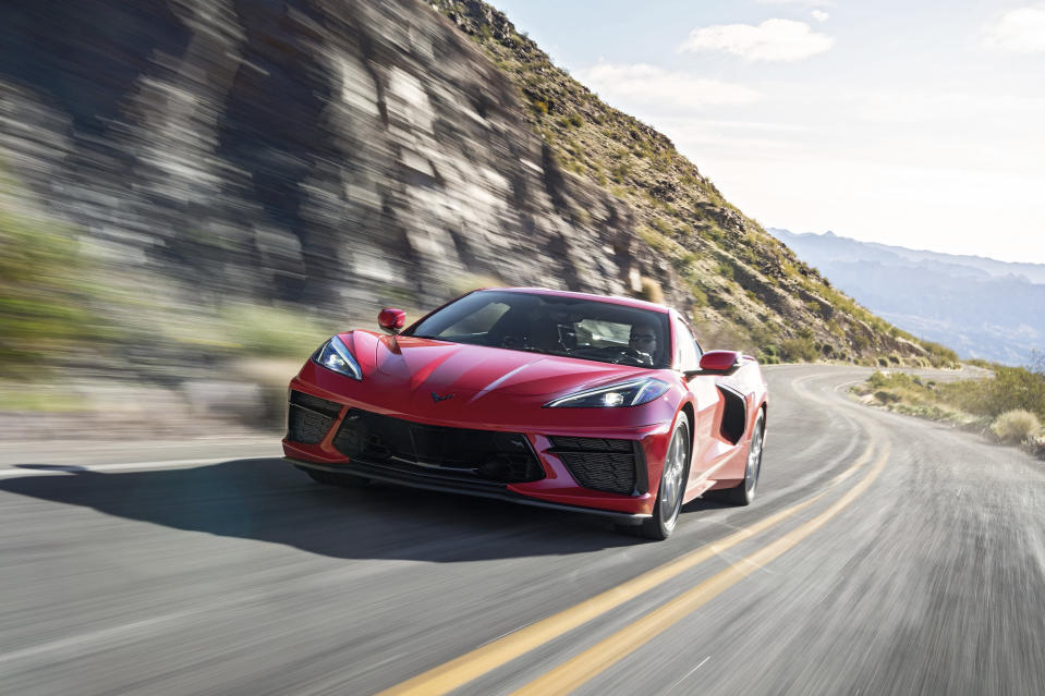 This photo provided by Chevrolet shows the 2020 Chevrolet Corvette. The Corvette's new mid-engine layout has increased performance and propelled it into an entirely different class of vehicle. (Jessica Lynn Walker/Courtesy of Chevrolet via AP)