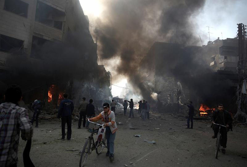 The site of a reported air strike by government forces on rebel-held Douma, east of Damascus, on November 7, 2015