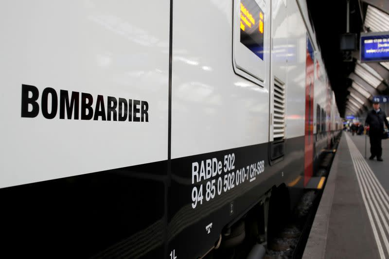 """The Bombardier FV-Dosto double-deck train """"Ville de Geneve"""" of Swiss railway operator SBB is seen at the central station in Zurich"""