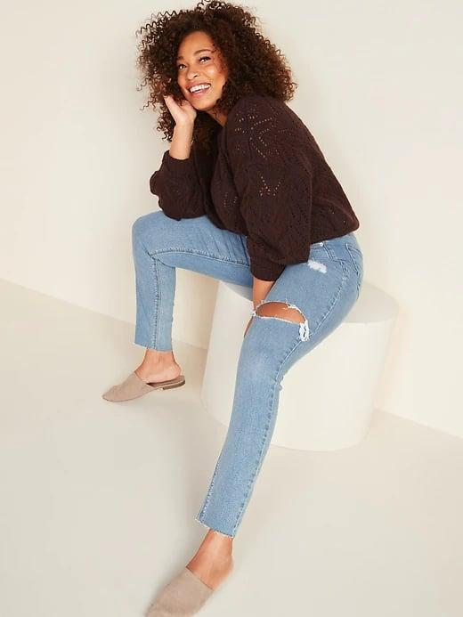<p>Got weekend plans? Meet your new co-pilot in these <span>Old Navy High-Waisted Rockstar Super Skinny Ripped Ankle Jeans</span> ($50) along with a cozy fall sweater.</p>
