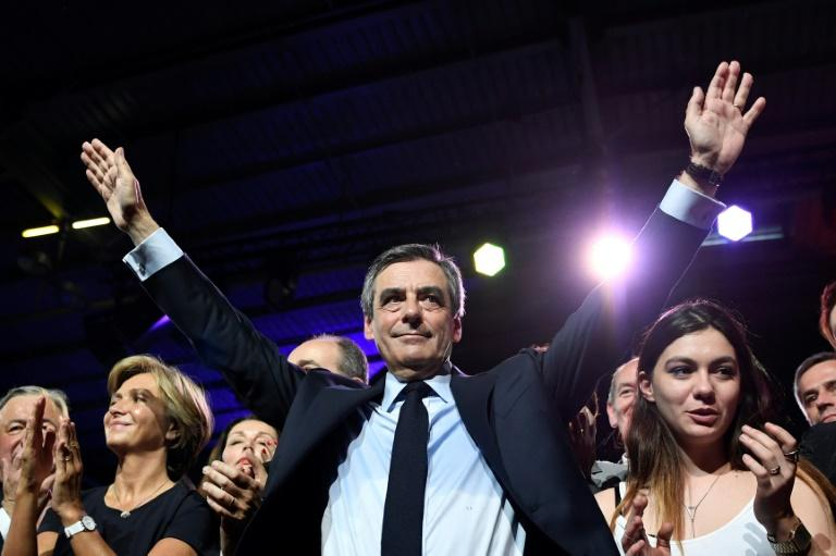French presidential election candidate for the right-wing Les Republicains during a rally at the Porte de Versailles in Paris, on April 9, 2017