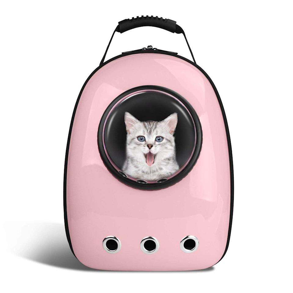 <p>Take your indoor cat on awesome adventures in this <span>Anzone Pet Portable Carrier Space Capsule Backpack</span> ($37).</p>